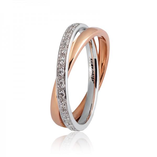 1Ar Per Sempre Oro Bianco e Rosa  Diamanti ct. 0.30